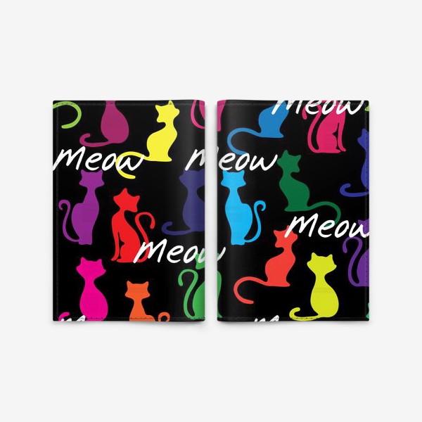 Обложка для паспорта «Разноцветный фон с силуэтами кошек»