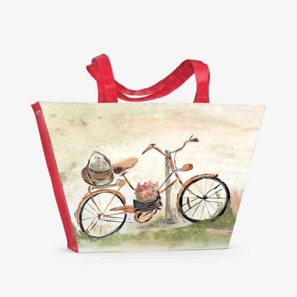 Пляжная сумка «Велосипед. Лето. Счастье быть собой.»