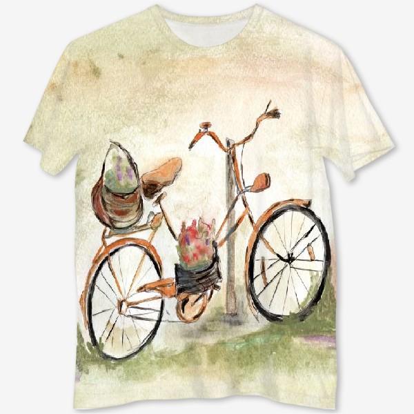 Футболка с полной запечаткой «Велосипед. Лето. Счастье быть собой.»