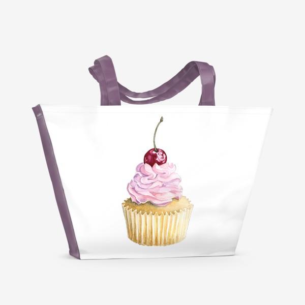 Пляжная сумка «Капкейк с вишенкой»