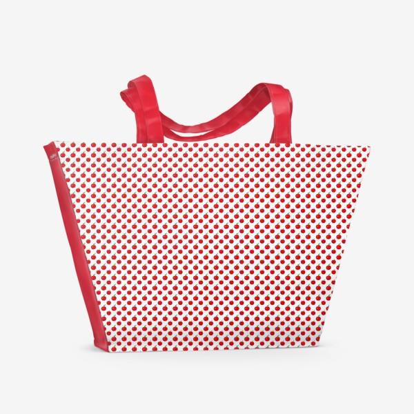 Пляжная сумка «Паттерн мелкие яблочки - ранетки»