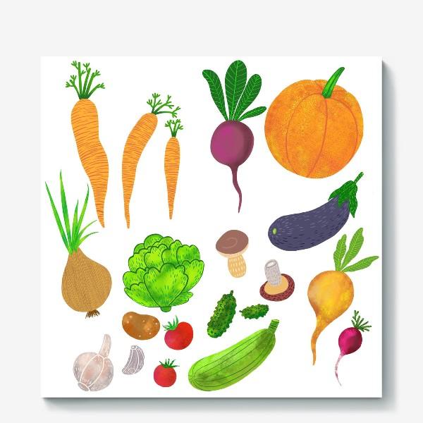 Холст «Овощи на белом фоне»