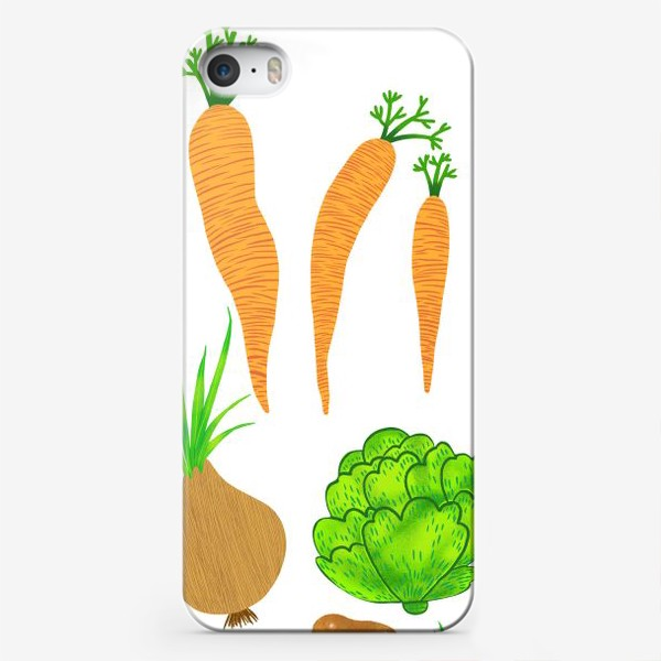 Чехол iPhone «Овощи на белом фоне»