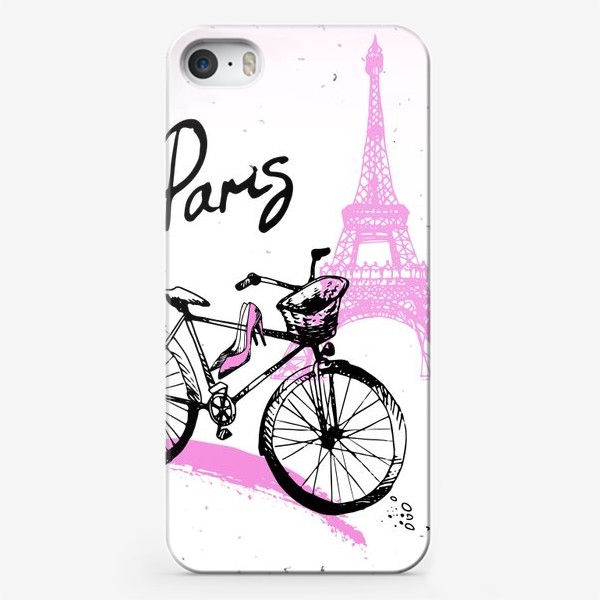 Чехол iPhone «Рисунок Эйфелевой башни и велосипеда  в розово черных цветах с надписью Paris»