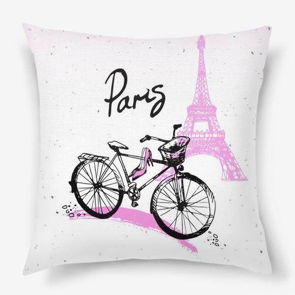 Подушка «Рисунок Эйфелевой башни и велосипеда  в розово черных цветах с надписью Paris»
