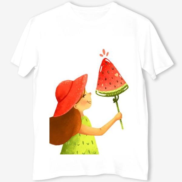 Футболка «Девочка с арбузным мороженым »