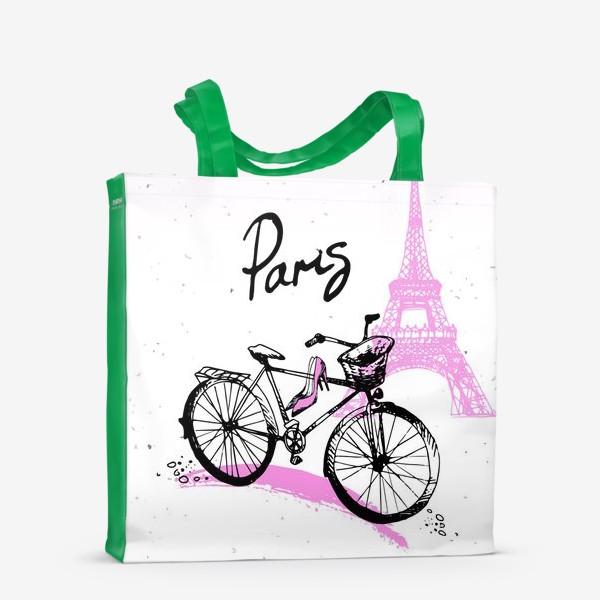 Сумка-шоппер «Рисунок Эйфелевой башни и велосипеда  в розово черных цветах с надписью Paris»