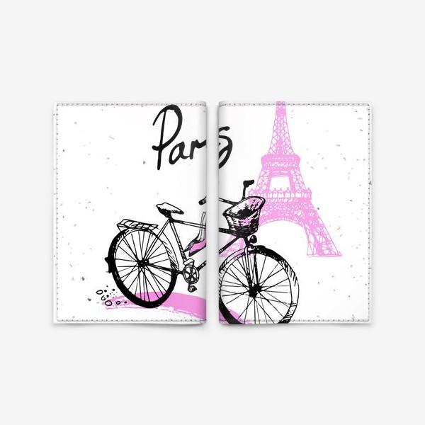 Обложка для паспорта «Рисунок Эйфелевой башни и велосипеда  в розово черных цветах с надписью Paris»