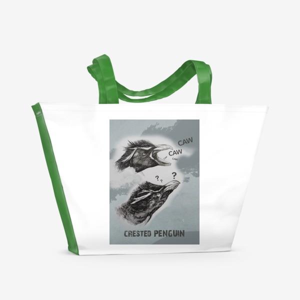 Пляжная сумка «Хохлатые милые пингвины»