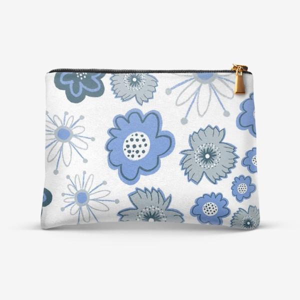 Косметичка «Голубые и серые цветы. Цветы тишины»