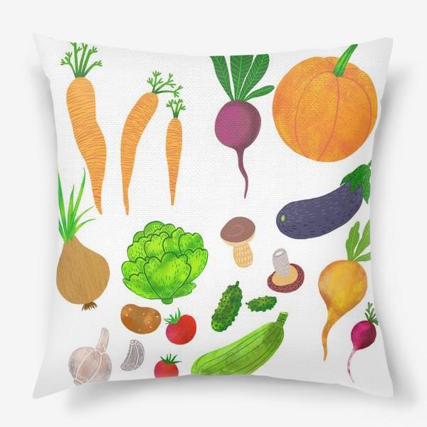 Подушка «Овощи на белом фоне»