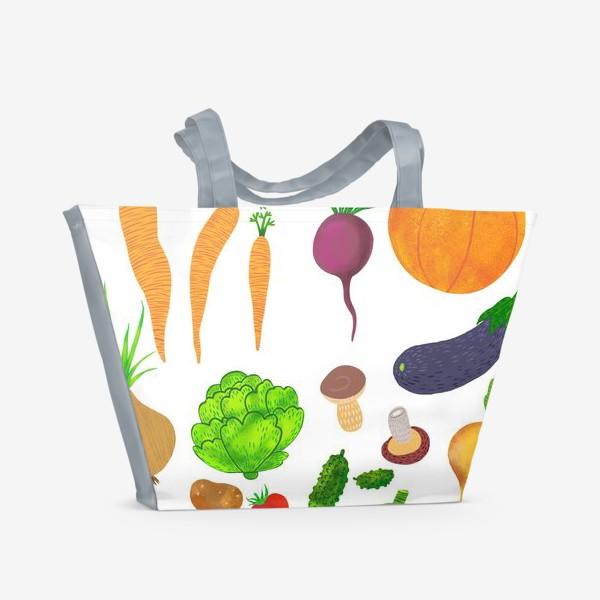 Пляжная сумка «Овощи на белом фоне»