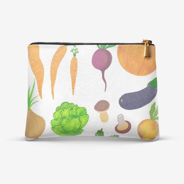 Косметичка «Овощи на белом фоне»