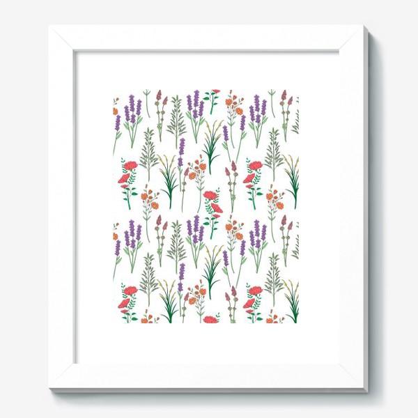 Картина «Дикие травы и цветы, паттерн»