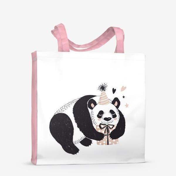 Сумка-шоппер «иллюстрация милый медведь панда с подарком »