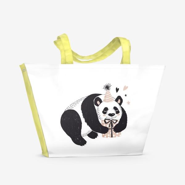 Пляжная сумка «иллюстрация милый медведь панда с подарком »