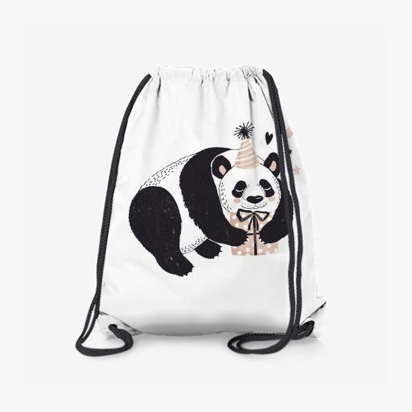 Рюкзак «иллюстрация милый медведь панда с подарком »