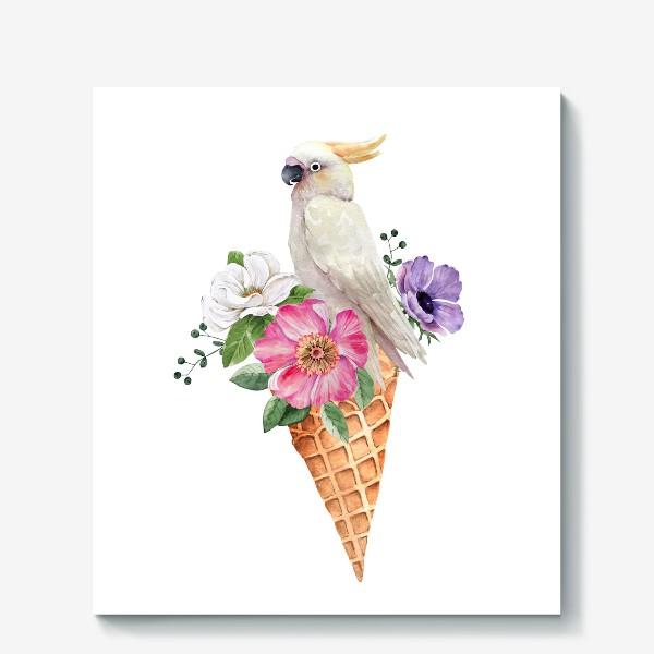 Холст «белый какаду в вафельном рожке с цветами иллюстрация акварель »