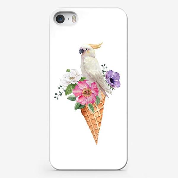 Чехол iPhone «белый какаду в вафельном рожке с цветами иллюстрация акварель »