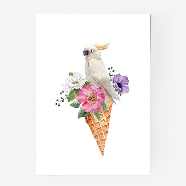 Постер «белый какаду в вафельном рожке с цветами иллюстрация акварель »