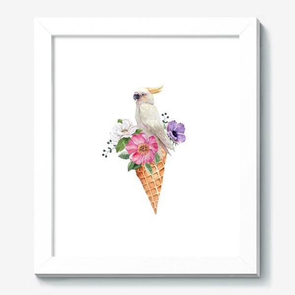 Картина «белый какаду в вафельном рожке с цветами иллюстрация акварель »