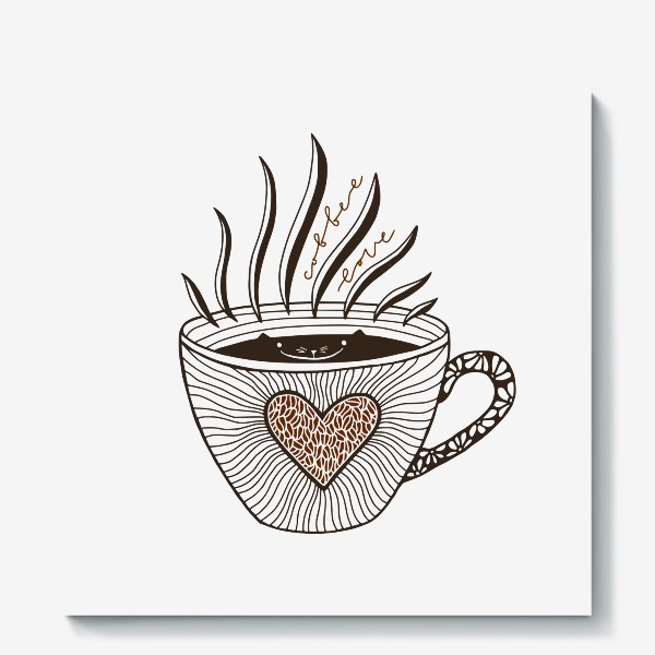Холст «Любовь к кофе. Кофейный кот»