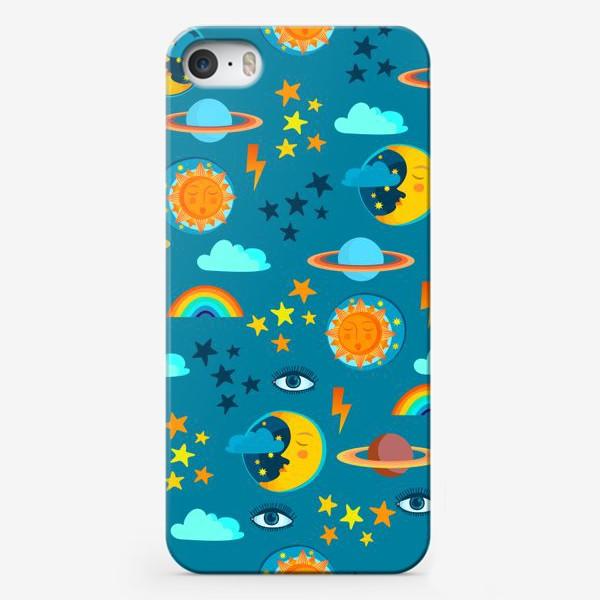 Чехол iPhone «Солнце, луна, планеты, звезды, молнии и глаз »