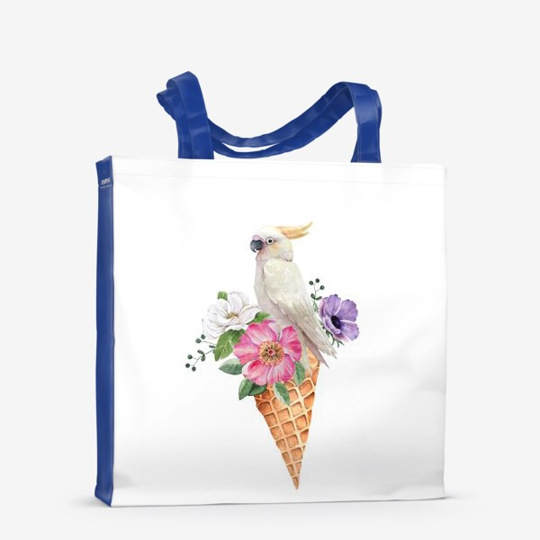 Сумка-шоппер «белый какаду в вафельном рожке с цветами иллюстрация акварель »