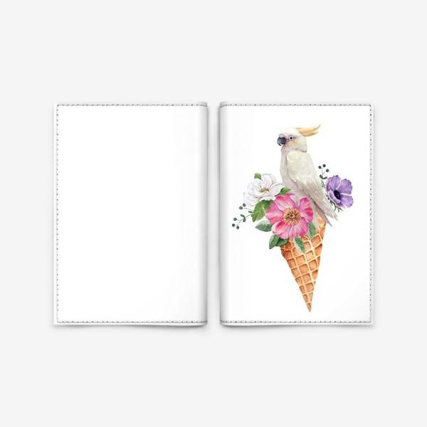 Обложка для паспорта «белый какаду в вафельном рожке с цветами иллюстрация акварель »