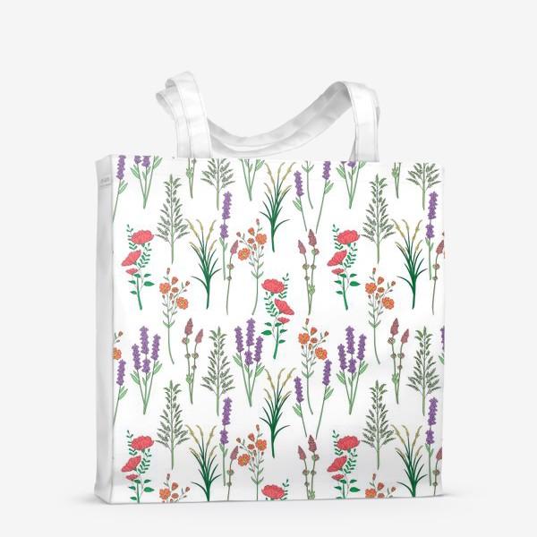 Сумка-шоппер «Дикие травы и цветы, паттерн»