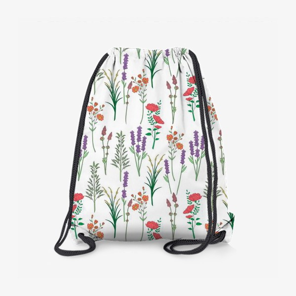 Рюкзак «Дикие травы и цветы, паттерн»
