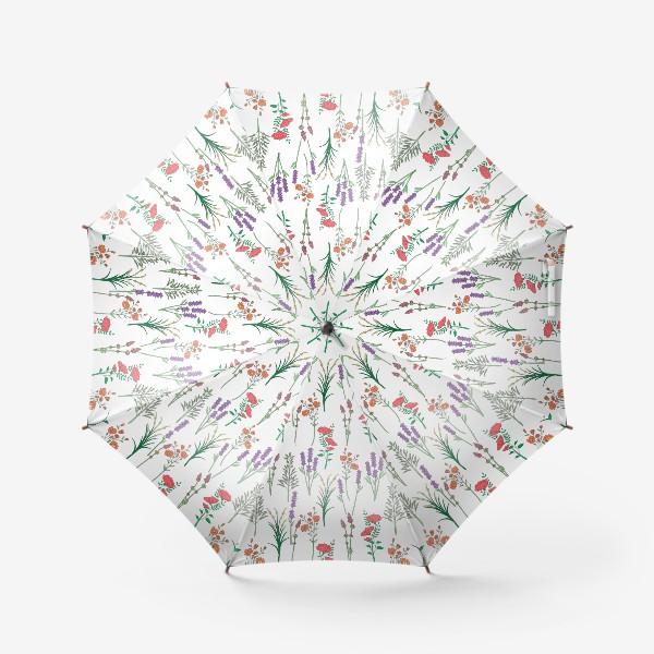Зонт «Дикие травы и цветы, паттерн»