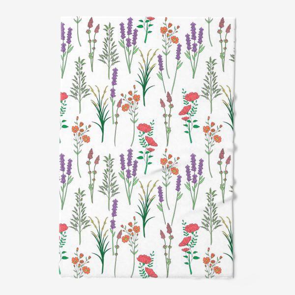 Полотенце «Дикие травы и цветы, паттерн»