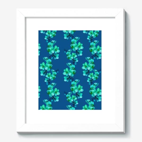 Картина «Голубые орхидеи.Цветочный паттерн»