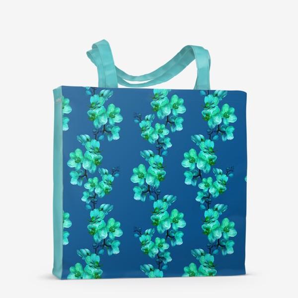 Сумка-шоппер «Голубые орхидеи.Цветочный паттерн»