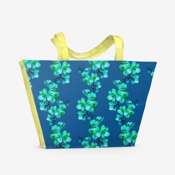 Пляжная сумка «Голубые орхидеи.Цветочный паттерн»