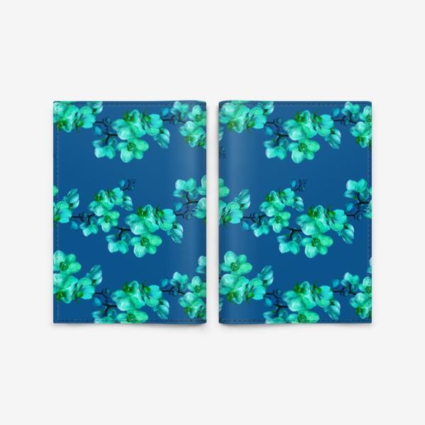 Обложка для паспорта «Голубые орхидеи.Цветочный паттерн»