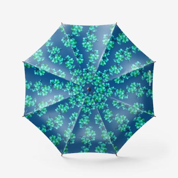 Зонт «Голубые орхидеи.Цветочный паттерн»