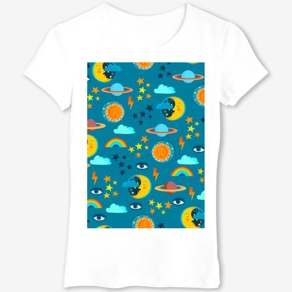 Футболка «Солнце, луна, планеты, звезды, молнии и глаз »
