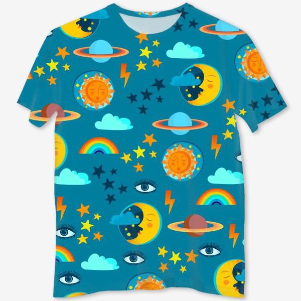 Футболка с полной запечаткой «Солнце, луна, планеты, звезды, молнии и глаз »