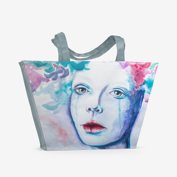 Пляжная сумка «Чувства (девушка акварелью)»