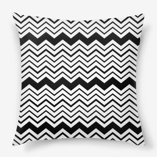 Подушка «Чёрно-белый орнамент зигзаги»