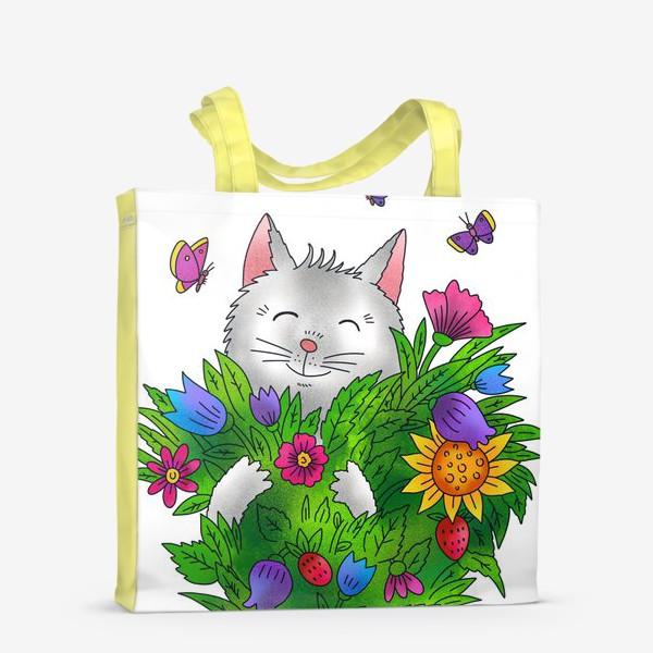 Сумка-шоппер «Белый кот с цветами»