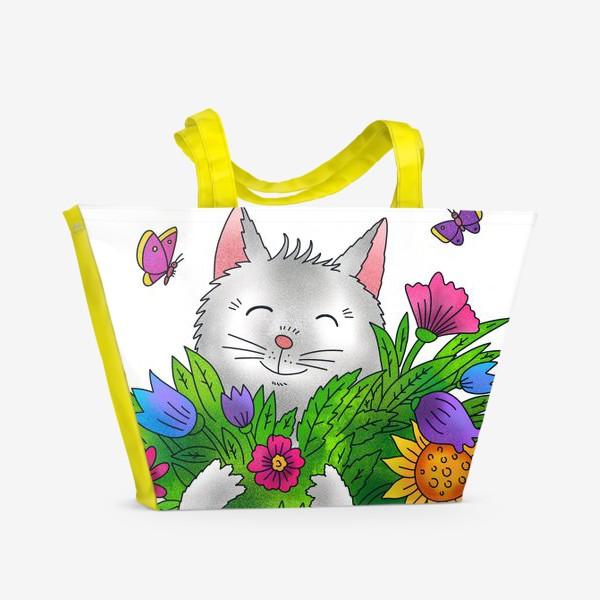 Пляжная сумка «Белый кот с цветами»