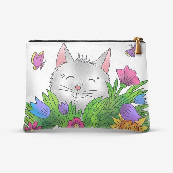 Косметичка «Белый кот с цветами»