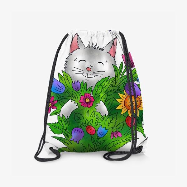 Рюкзак «Белый кот с цветами»