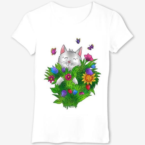 Футболка «Белый кот с цветами»