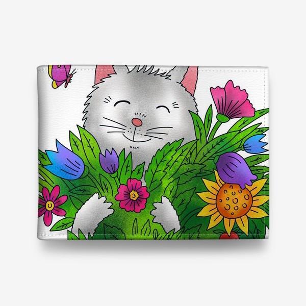 Кошелек «Белый кот с цветами»