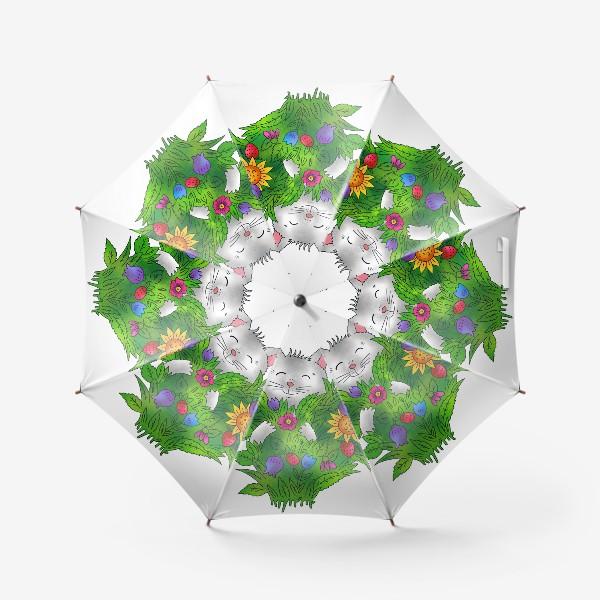 Зонт «Белый кот с цветами»
