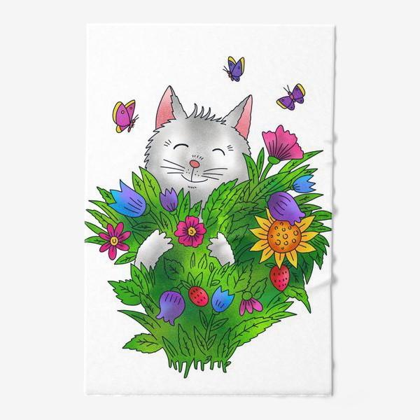 Полотенце «Белый кот с цветами»